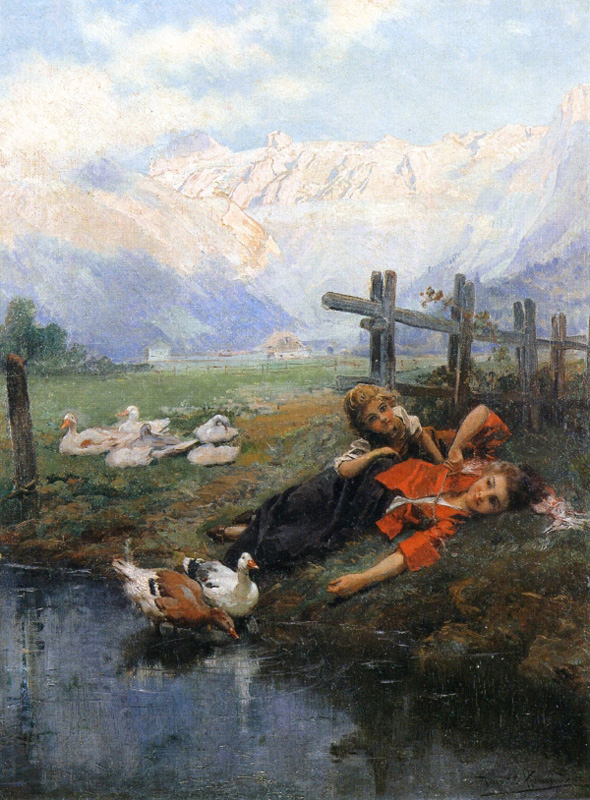children and geese by a pond