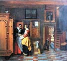 interior with woman beside a linen cupboard