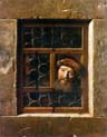 man looking through a window