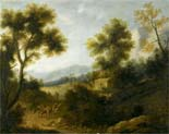 wooded landscape with herdsman