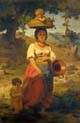 italian woman with children by a stream