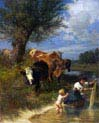 cows and laundress at the creek
