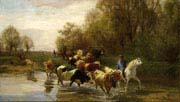 cows with rider on the water at zurichhorn