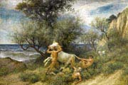 three faune with cow and calf