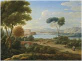 classical river landscape with figures on a path and a palace in the distance