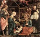 adoration of the child with saints two
