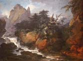 landscape with a waterfall and a man attacked by a snake