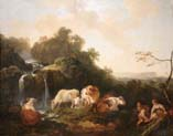 landscape with cascade herd and berger taking the foot of a shepherdess