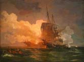 naval combat or a maltese ship attacked by algerian pirates
