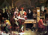 Caxton Showing the First Specimen of His Printing