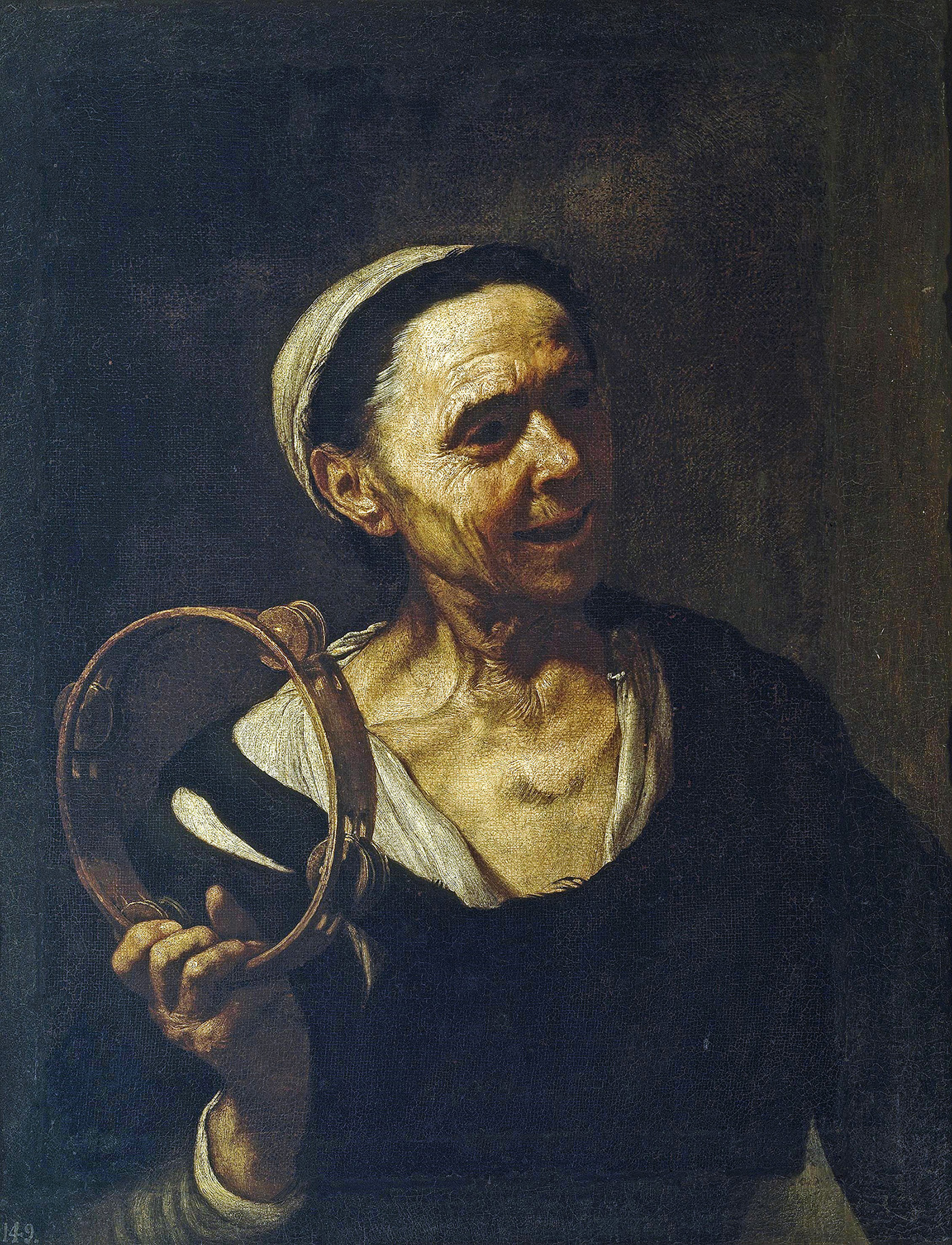 elderly woman with a rattle