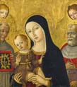 madonna and child with saints bernardino of siena and jerome behind them two angels