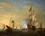 Harbor Scene An English Ship with Sails Loosened Firing a Gun