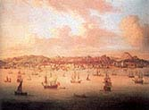 The British Fleet Sailing into Lisbon Harbor