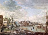 A Frozen River near a Village with Golfers and Skaters