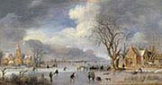 Winter Landscape with Skaters and Flask Players