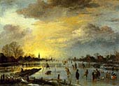 Winter Landscape with Skaters at Sunset