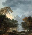 landscape at twighlight with a horseman pulling a boat along a canal