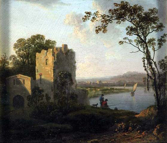 Tower on the Bank of a River with Two Men Fishing