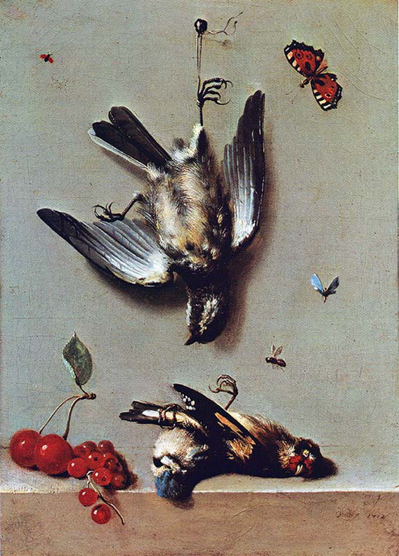 Still life with Dead Birds-Gooseberries-Cherries and Insects