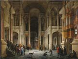 the interior of a renaissance style church at night with an elegant couple making an entrance