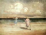 Girls Playing by the Seashore