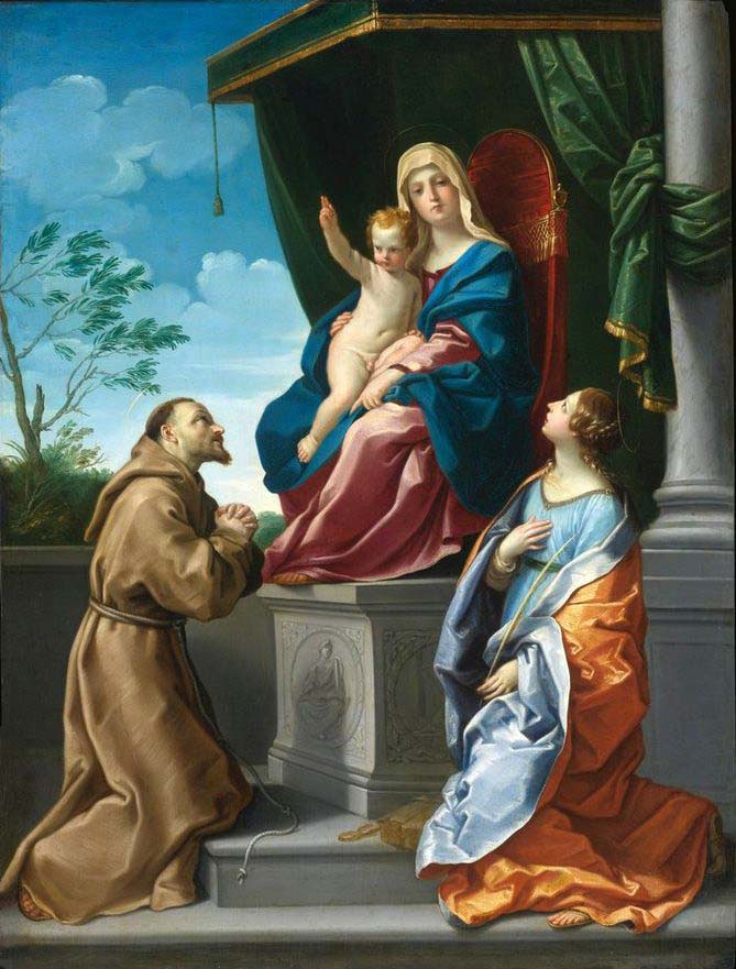 the virgin and child enthroned with saints francis and catherine