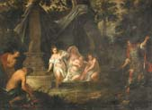 bathing nymphs and roman soldier