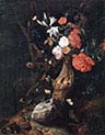 Flowers on a Tree Trunk