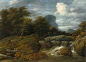 a wooded landscape with a waterfall