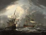 english frigate passing a dutch merchantman in congested waters