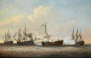 plight of the monmouth at the close of the action with three french ships