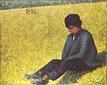 Boy Sitting on a Lawn