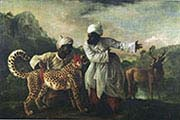 Cheetah and Lion with Two Indians
