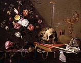 Vanitas with Bouquet and Skull