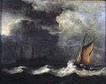 Ships in a Strong Wind and Under a Dark Sky