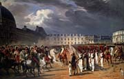 an invalid submitting a petition to napoleon at a parade in the courtyard of the tuileries palace