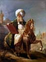 portrait of the architect barthelemy michel hazan on horseback in mufti