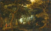 forest landscape with two of christ's miracles