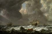 dutch merchantmen in rough seas