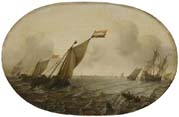 seascape with sailing ships on stormy sea