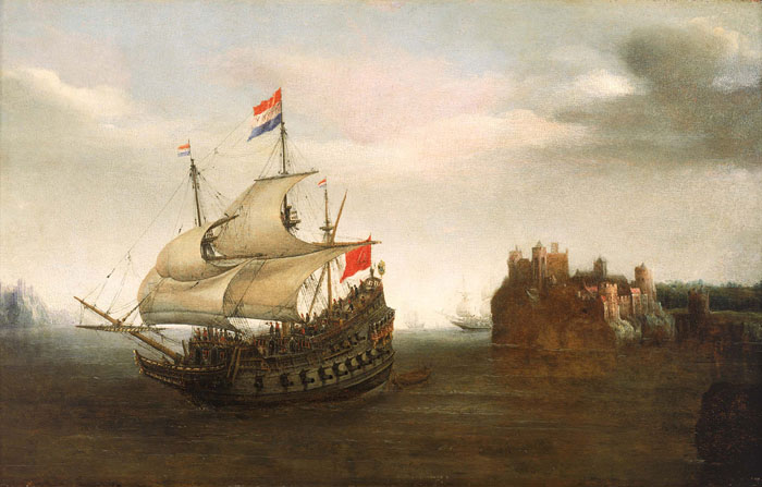 A Castle with a Dutch Ship Sailing Nearby