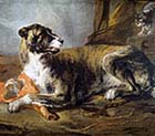 Hound with a Joint of Meat and a Cat Looking On