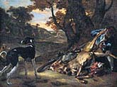 Huntsman cutting up a Dead Deer with Two Deerhounds