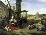 Italian landscape with Inn and Ancient Ruins