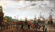 Preparatory Battle Between Dutch and English Ships