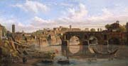 view of the river tiber with the ponte rotto and the aventine hill