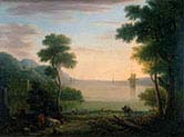 Classical Landscape with Figures and Animals Sunset