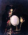 Two Boys Blowing a Bladder by Candlelight